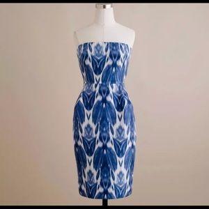 J.Crew Collection Blue Silk Ikat Strapless Dress